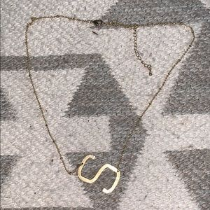 Gold S initial necklace
